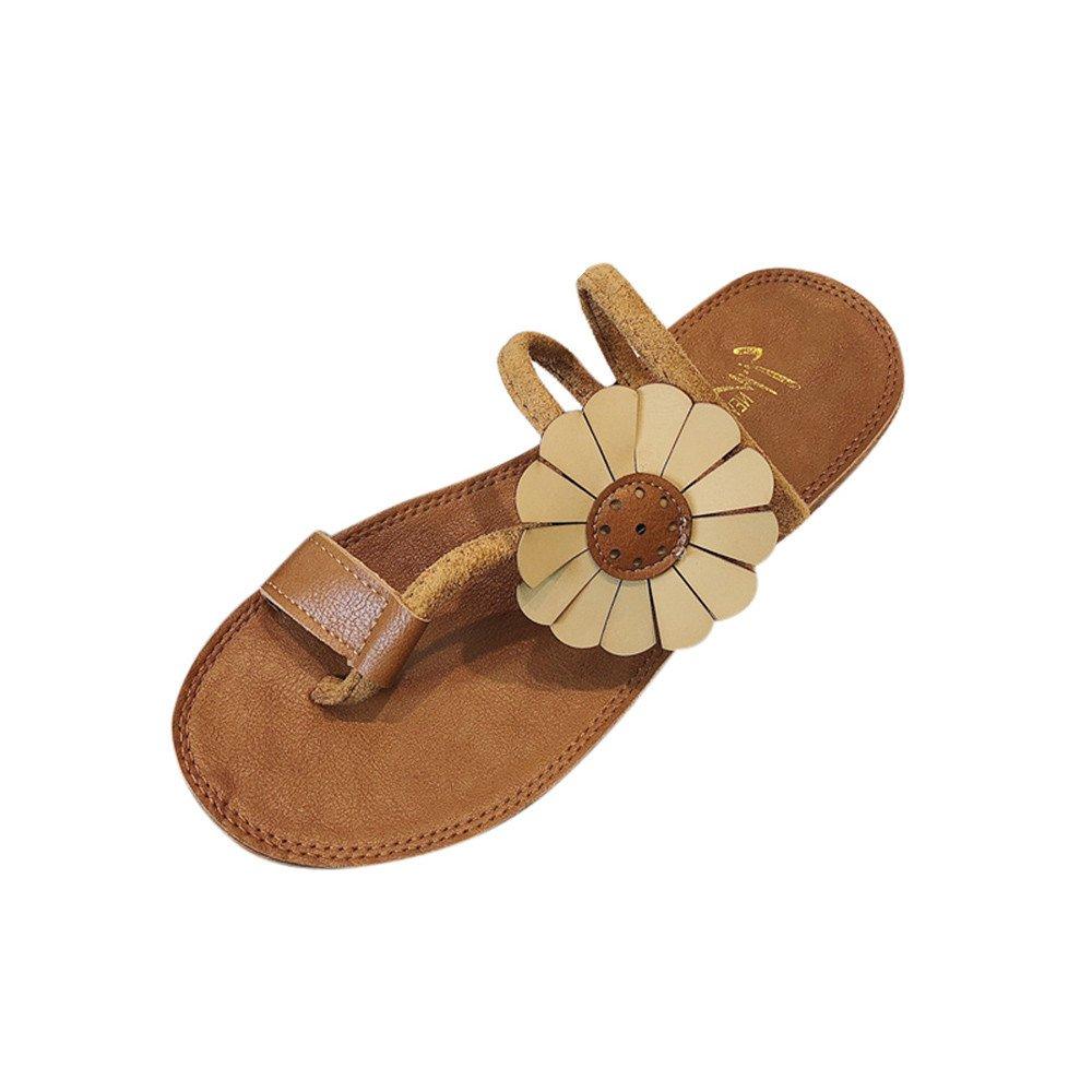 LHWY Sandalen Damen Zehentrenner, Mode Frauen Blume Flache Slipper Schuhe Junges Mädchen Elegant Rutschfest Strand Sandalen Flip-Flops Gelb