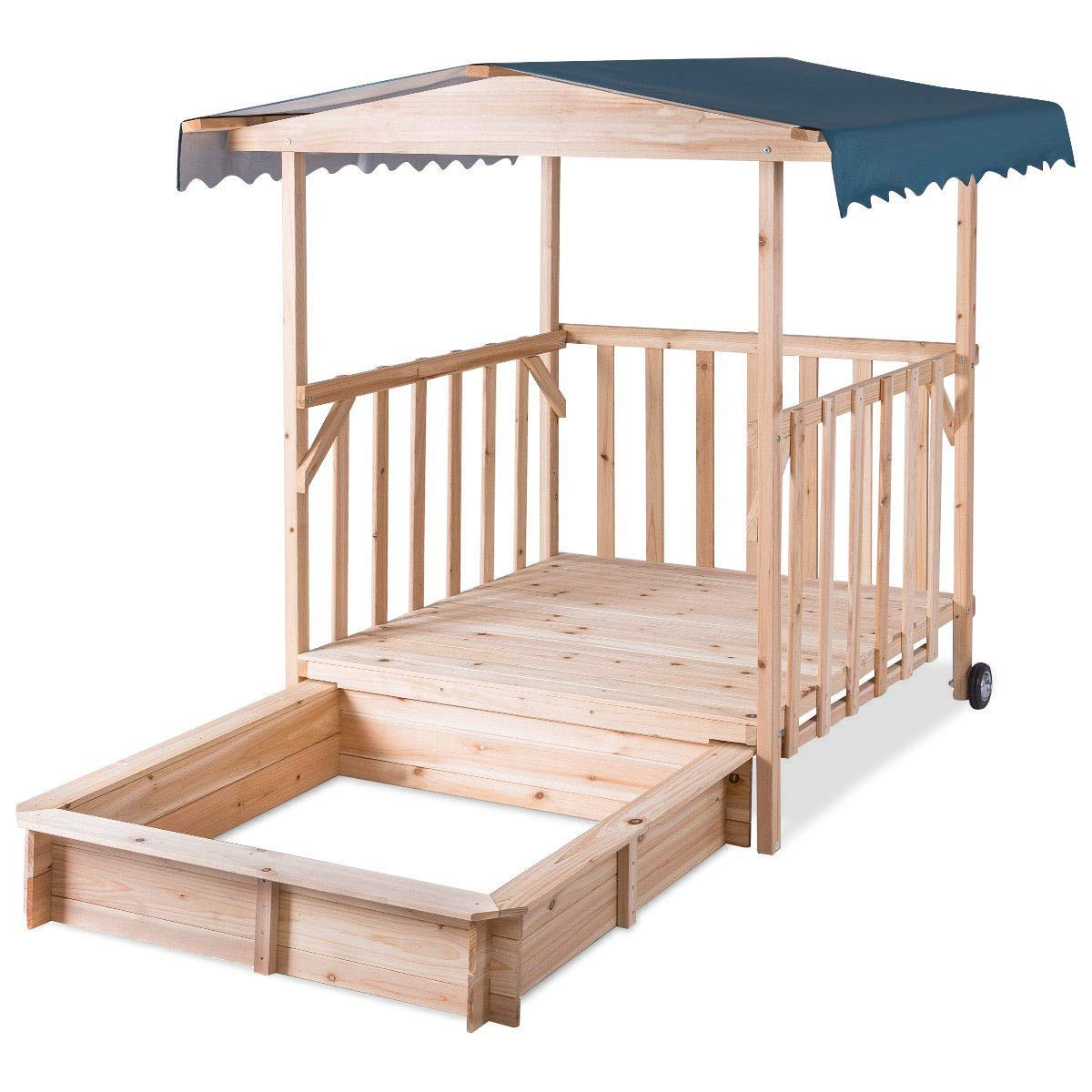 NanaPluz 41'' Wood Kids Outdoor Playhouse Children Retractable Cabana Beach Sandbox w/ Canopy & 4 Swivel Casters with Ebook