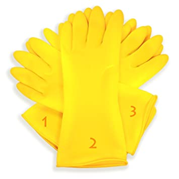 MCP Flocklined Household Kitchen cleaning Rubber Large Hand Gloves 9 yellow color, Set of 3 Pairs