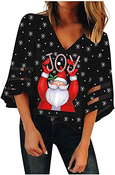 Fanteecy Women Christmas Shirts Color Block Long Sleeve Round Neck Casual Sparkly Reindeer Tunic Tops Blouse