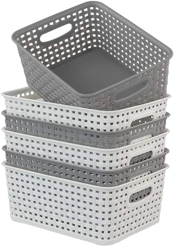 Qshape Cestas de Pl/ástico para La Colada Ba/ño Blanco Gris 6 Paquetes