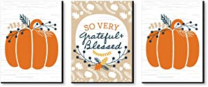 Big Dot of Happiness Happy Thanksgiving - Grateful and Blessed Wall Art, Pumpkin Room Decor and Fall Decorations - 7.5 x 10 inches - Set of 3 Prints