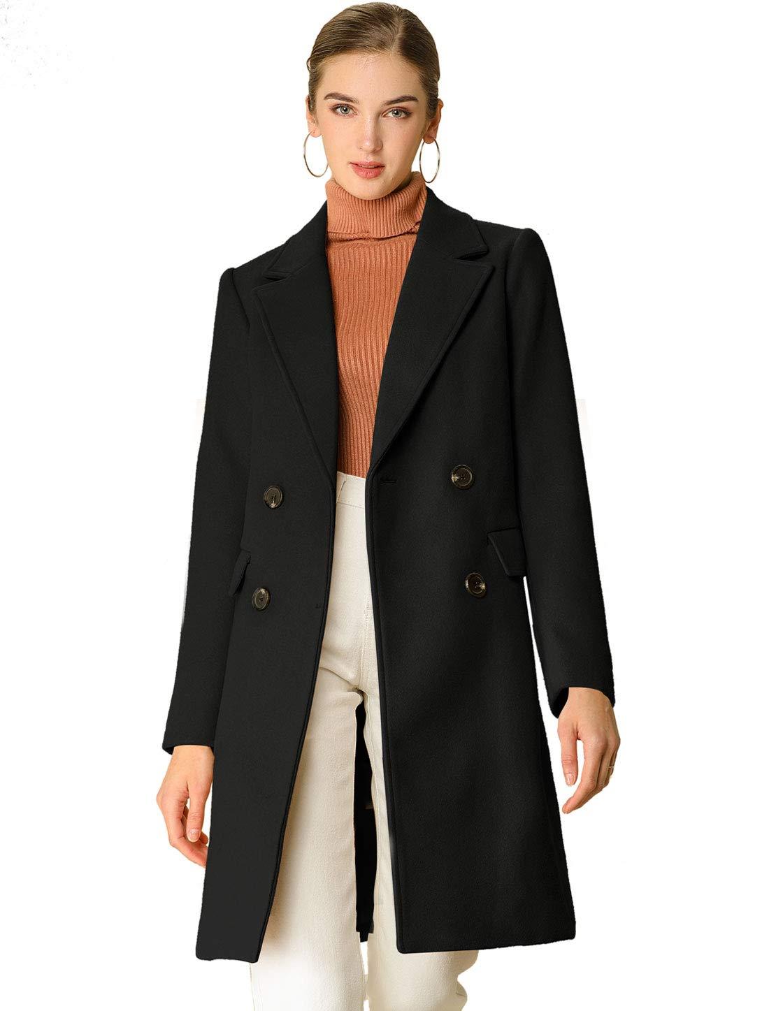 Allegra K Women's Notch Lapel Double Breasted Belted Mid Long Outwear Winter Coat