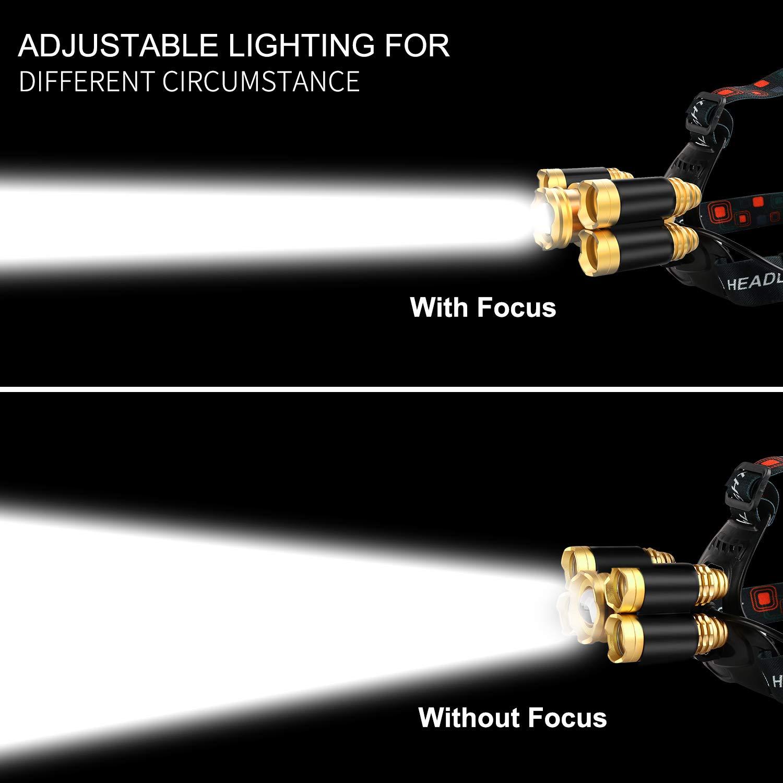 FightingGirl 5 Led Headlamp 12000 Lumen Flashlight- Rechargeable 18650 Headlight Flashlights Waterproof Hard Hat Light Bright Head Lights Camping Running Hiking Headlamps by FightingGirl (Image #10)