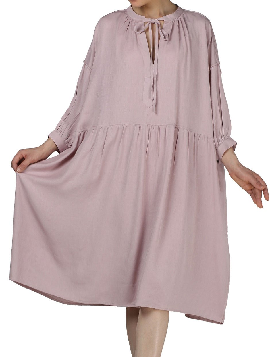 Mordenmiss Women's New Casual Plus Size Dress with Drawsting at Neckline XL Pink