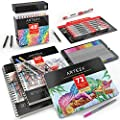 Arteza Complete Art Bundle, 72 Color Fineliner Pen Set, 48 Color Real Brush Pen Set & a 2 Pack of 9x12-inch 60-Sheet Mixed Media Pads for Professional & Beginning Artists & Students