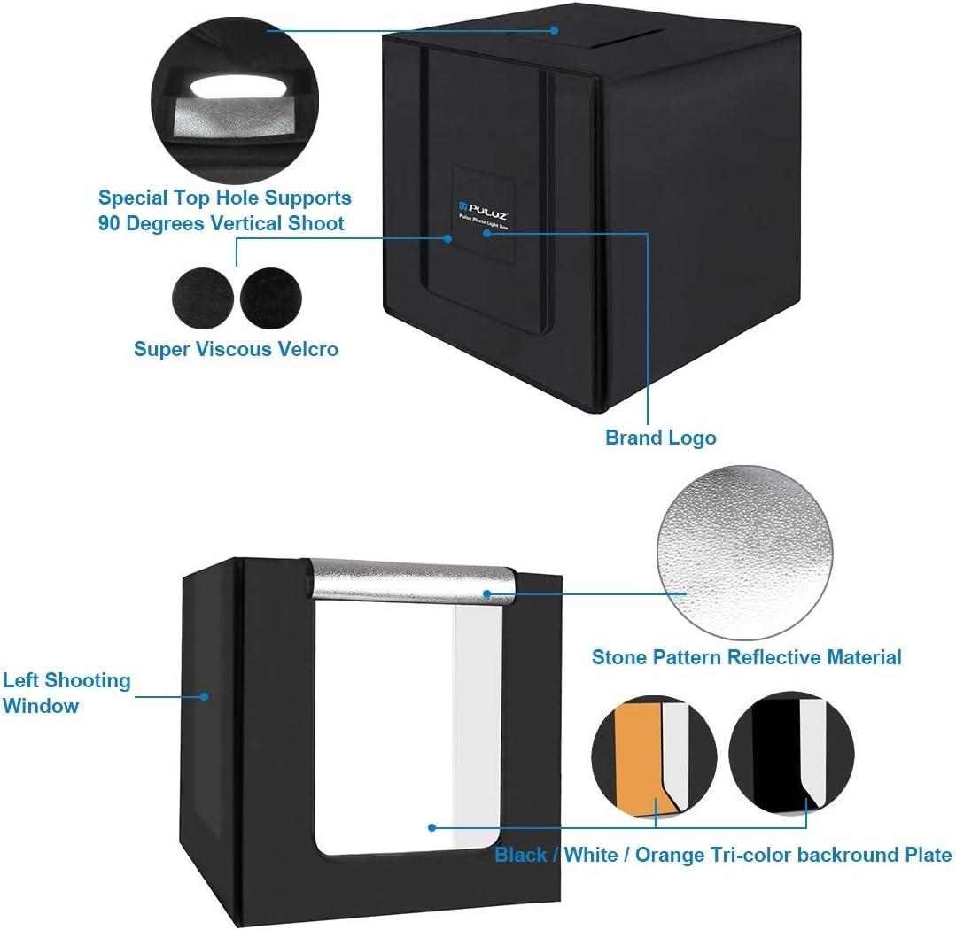 Lighting /& Studio 80cm Folding Portable 80W 8500LM White Light Photo Lighting Studio Shooting Tent Box Kit with 3 Colors Backdrops Black, White, Orange Color : Color3