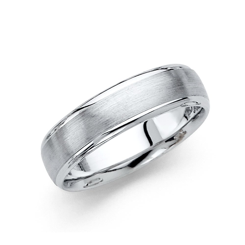 Wellingsale 14k White Gold Polished Satin 6MM Rounded Edge Comfort Fit Wedding Band Ring - Size 10.5 by Wellingsale®