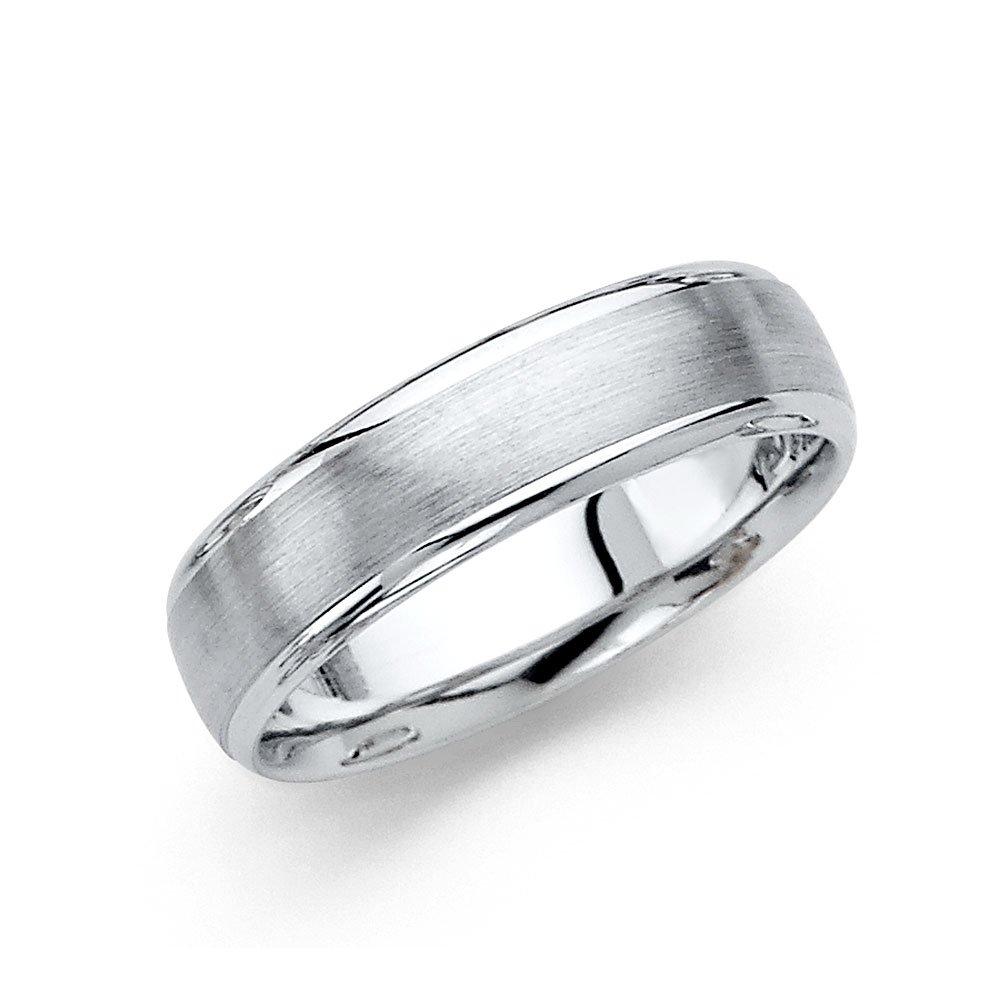 Wellingsale 14k White Gold Polished Satin 6MM Rounded Edge Comfort Fit Wedding Band Ring - Size 9.5
