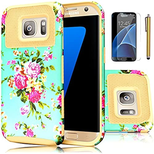 Galaxy S7 Case,EC 2-Piece Extra Slim Hybrid Dual Layer Hard Cover Case for Samsung Galaxy S7 2016 Release (Flower-Gold) Sales