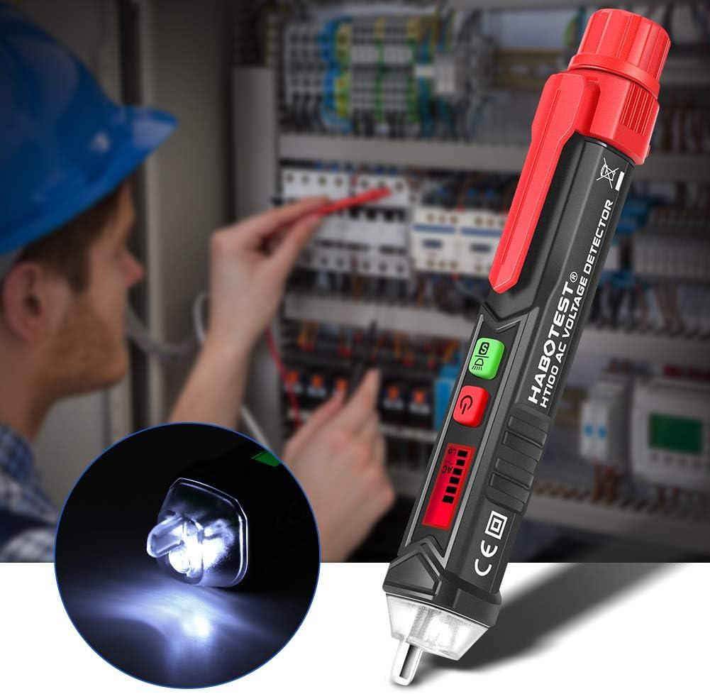 Rilevatore di Tensione schermo LCD da 12-1000 V // 48-1000 V Misuratore a Pennna Corrente AC con Lallarma Beep la Torcia Misura Filo Vivo//Nullo Schermo LCD Tester di tensione senza contatto