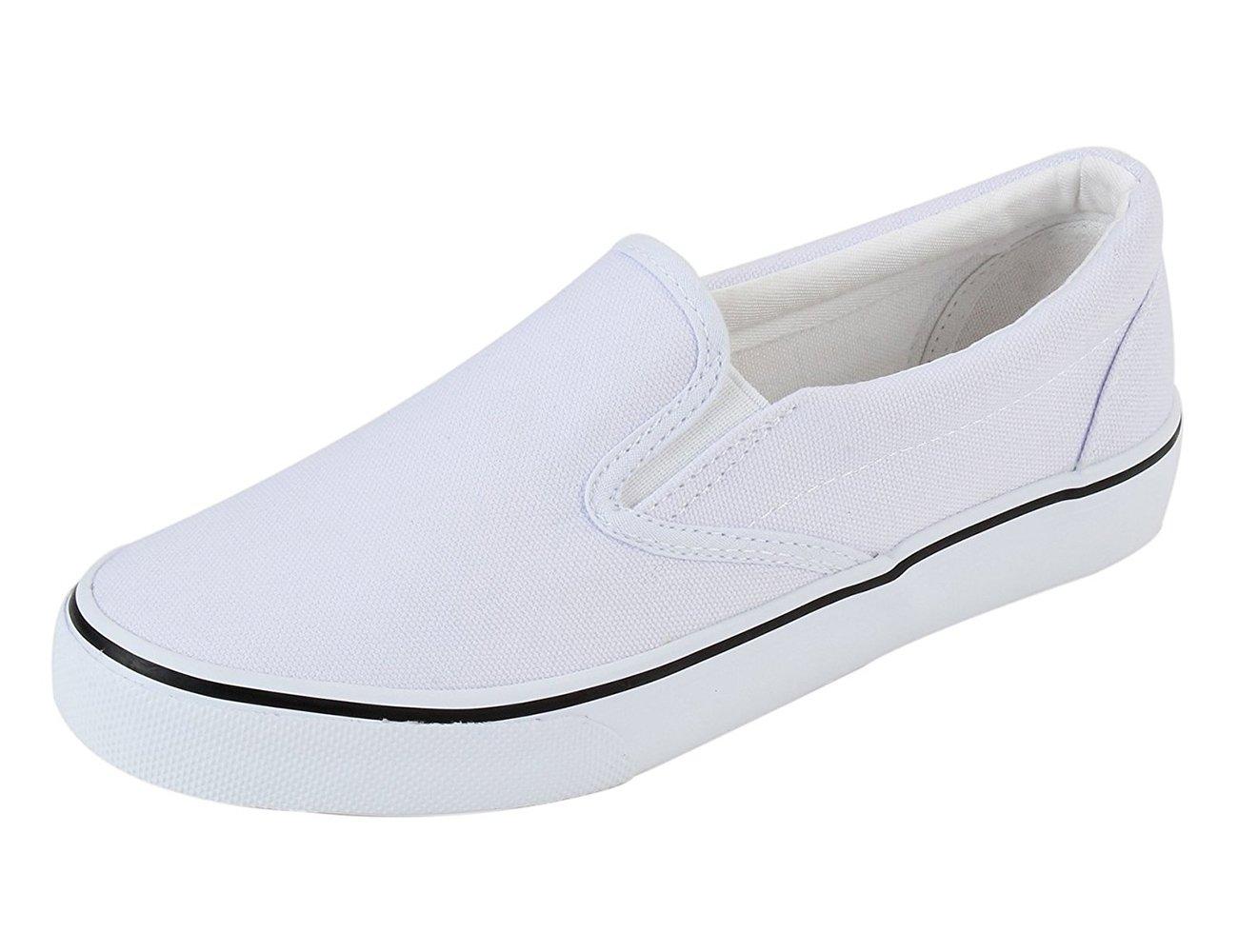 Xiakolaka Mens Canvas Slip On Fashion Sneaker Skate White US7