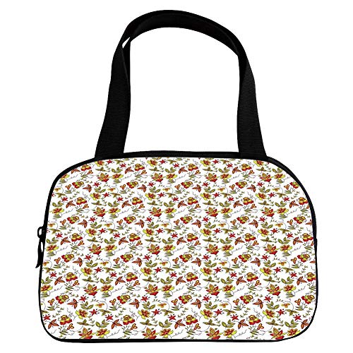Polychromatic Optional Small Handbag Pink,House Decor,Vintage Fabric Design Style Traditional Exotic Plants Flowers Pattern Fall Colors,for Girls,Print Design.6.3