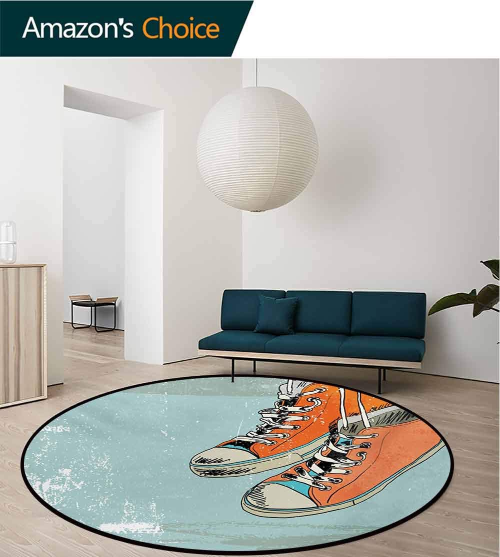 RUGSMAT Modern Modern Machine Round Bath Mat,Old Fashioned Punk Sports Shoes with Murky Grunge Effects Youth Graphic Art Non-Slip No-Shedding Kitchen Soft Floor Mat,Diameter-47 Inch