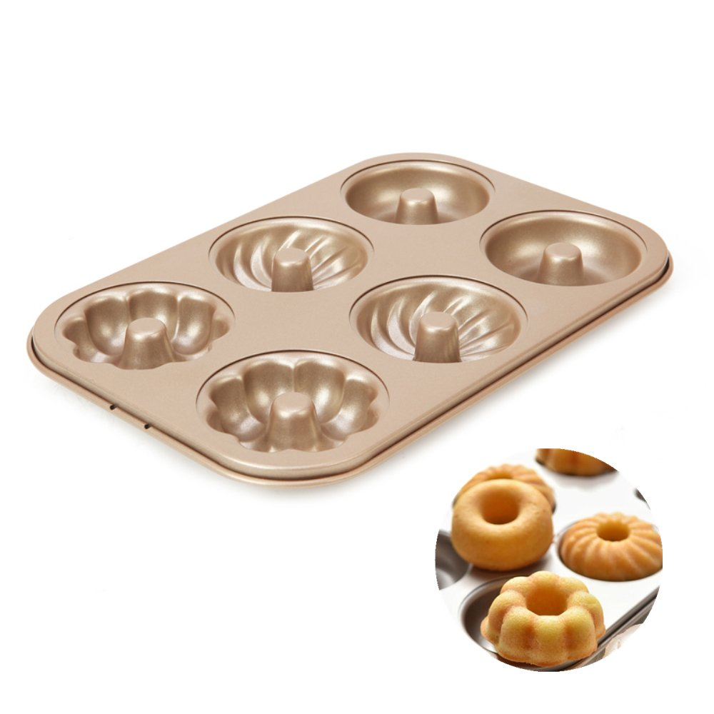 Forvel Mixed 6-Cavity [Plain, Cyclone, Pumpkin] Metallic [Non-Stick] Donut Pan Bagel Baking Mold - Easy Home Chocolate Doughnut Maker