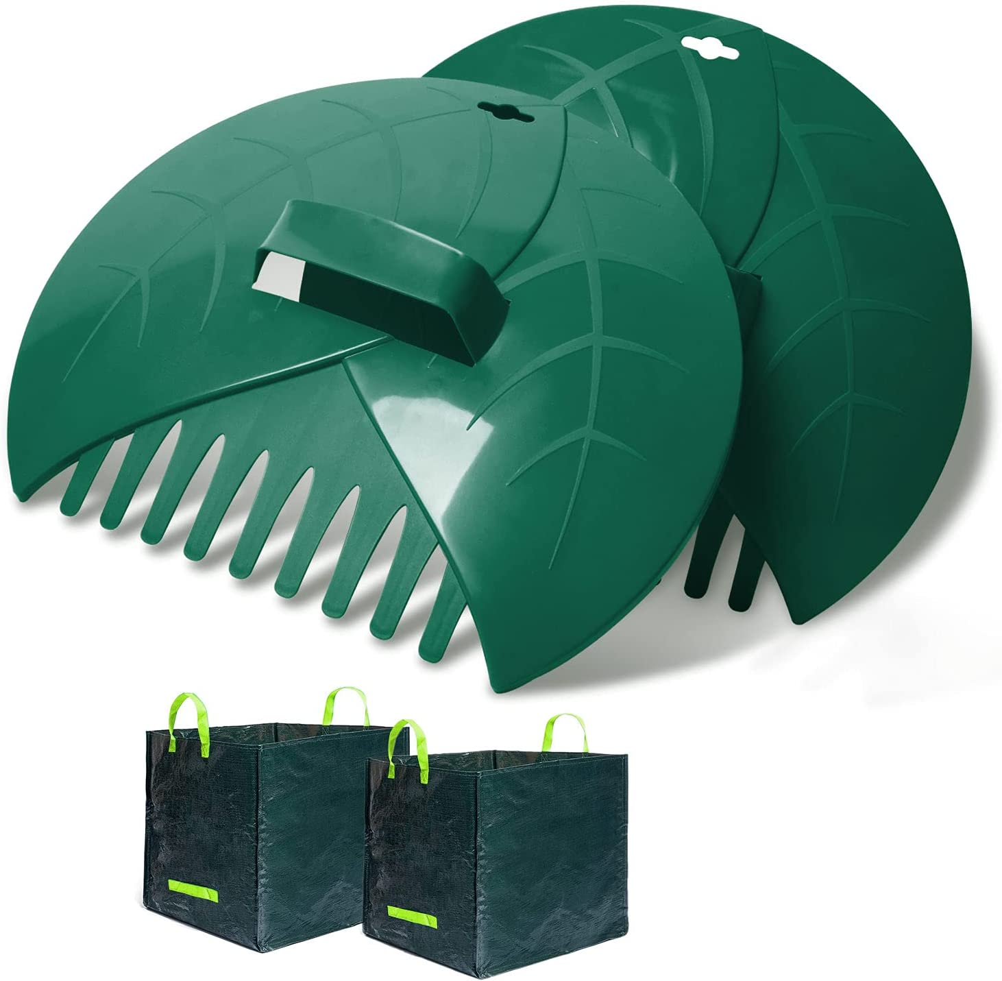 WINSLOW & ROSS Leaf Scoops Hand Rakes with 2 Trash Bag, Large Durable Ergonomic Leaf Scoops for Picking up Leaves, Grass Clippings and Lawn Debris,Green 2 pcs