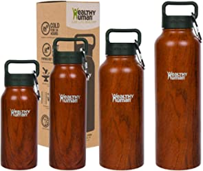 Healthy Human Stainless Steel Vacuum Insulated Water Bottle   Keeps Cold 24 Hours, Hot 12 Hours   Double Walled Water Bottle 16 oz, 21 oz, 32 oz, 40 oz
