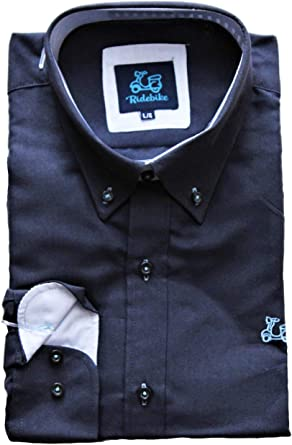 Ridebike Hombre Camisa Lisa Oxford Logo en el Pecho Diseño del puño a Juego con el Cuello en Color Azul Marino (1610)