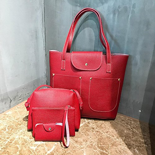 Hanle Sale Handbag Bag Ladies Bag Bag Bag PU Satchels Package Clearance Soft Purse Red Bag Leather Tote Women Casual Bag Shoulder Top Crossbody Messenger 4Pcs Halijack Card rwZHTrqxI
