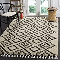 Safavieh Moroccan Fringe Shag Collection MFG245B Cream and Charcoal Grey Area Rug (3 x 5)