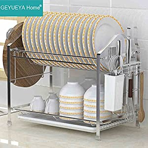 2-Tier Dish Drying Rack Dish Drainer Kitchen Storage Organization, Stainless Steel, GEYUEYA Home