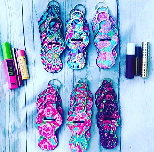 Floral Lilly (SET OF 24 Lilly Floral Pattern Neoprene Travel Keychain Case for Essential Oil Roller Bottles, Lipstick, Chapstick, Lip Gloss, Mascara, Standard Roll-on Spring SUMMER COLORS)
