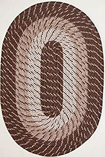 "product image for Plymouth 5' 6"" x 8' 6"" (66"" x 102"") Oval Braided Rug in Brown Made in USA"