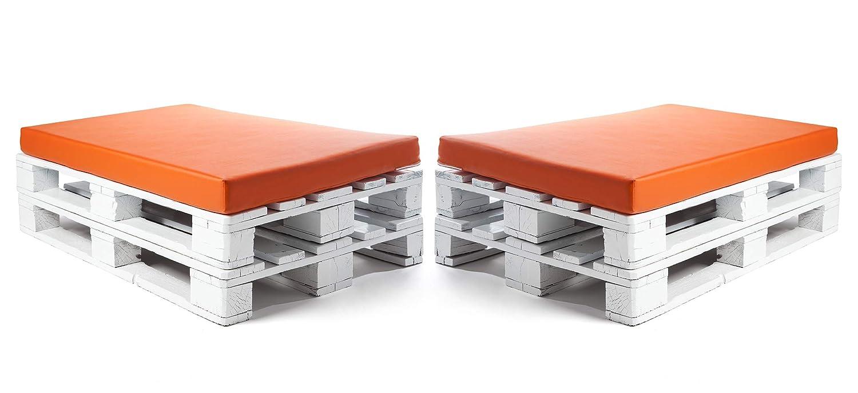 SUENOSZZZ-ESPECIALISTAS DEL DESCANSO Colchonetas para Sofas de Palet (2 x Unidades) Cojin Relleno con Espuma. Color Naranja | Cojines para Chill out, ...
