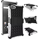 Heartly Flip Kick Stand Spider Hard Dual Rugged Armor Hybrid Bumper Back Case Cover For Sony Xperia Z5 Compact - Best White