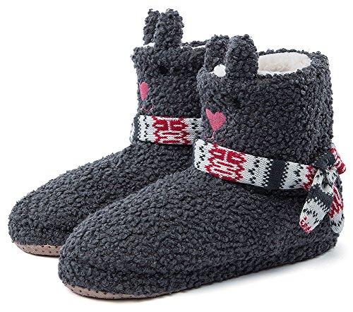 Pantofole Da Donna Di Casa Magmic Maglia Sfilacciata Di Natale Ladies Cute Bedroom Indoor Pantofole Invernali Grigie