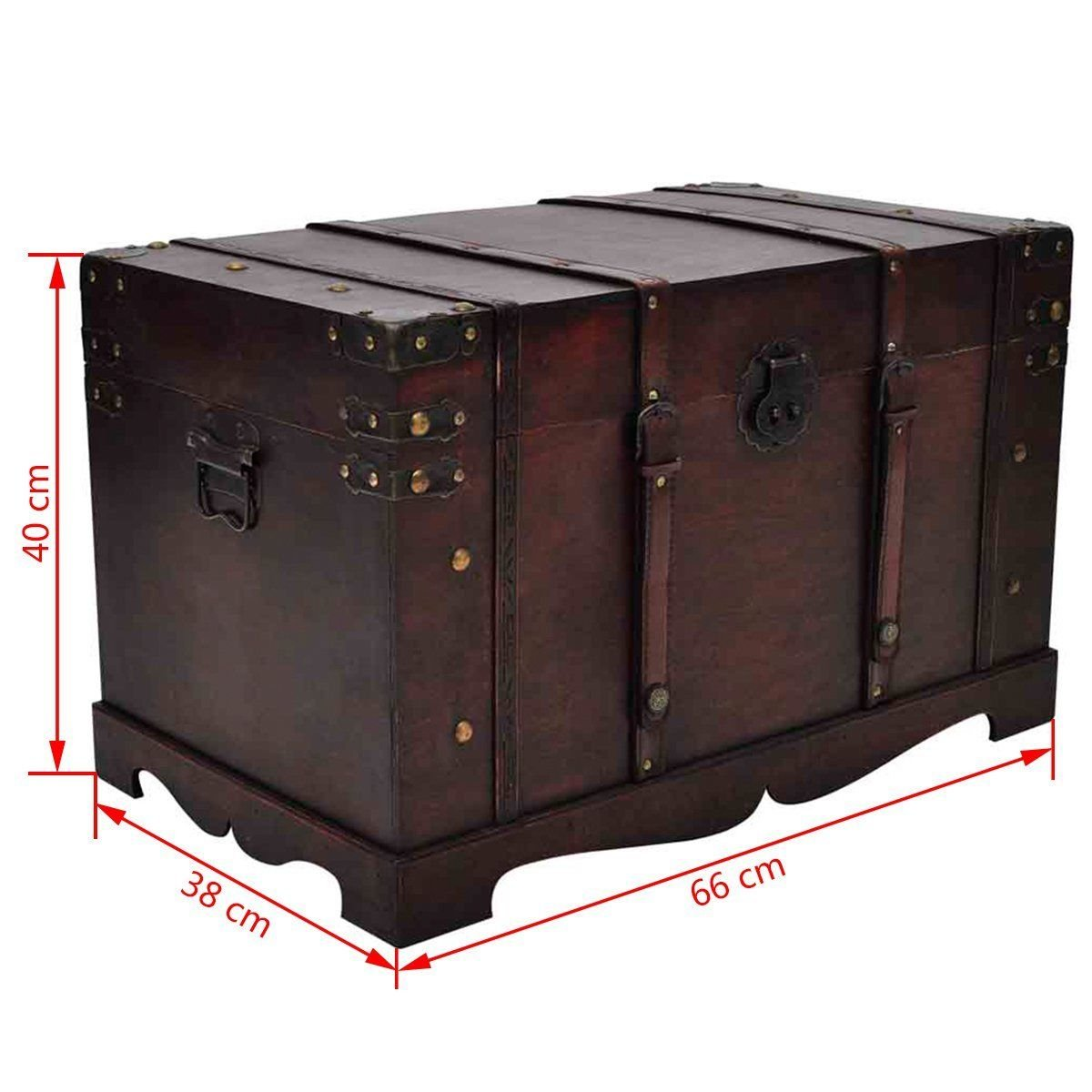Vintage Antique Style Large Wooden Treasure Storage Trunk Blanket Steamer Chest by Daily Steals (Image #3)