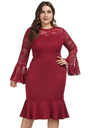 c74df99c935 Women Floral Lace Crew Neck Mermaid Bodycon Pencil Dress 16W Wine red