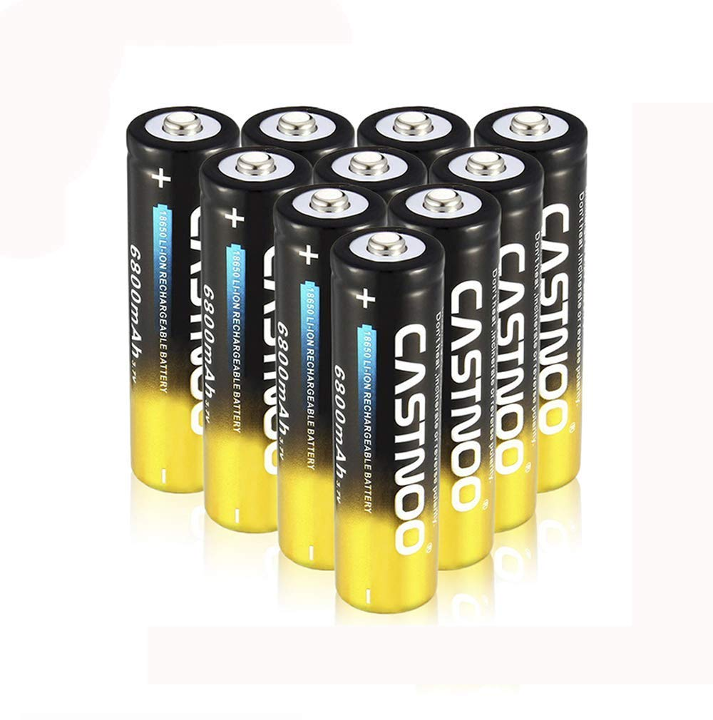3.7V Button Top for Led Flashlight Headlamp BXE 10-PACK 10Pcs 18650 lithium 9800mah Rechargeable Batteries