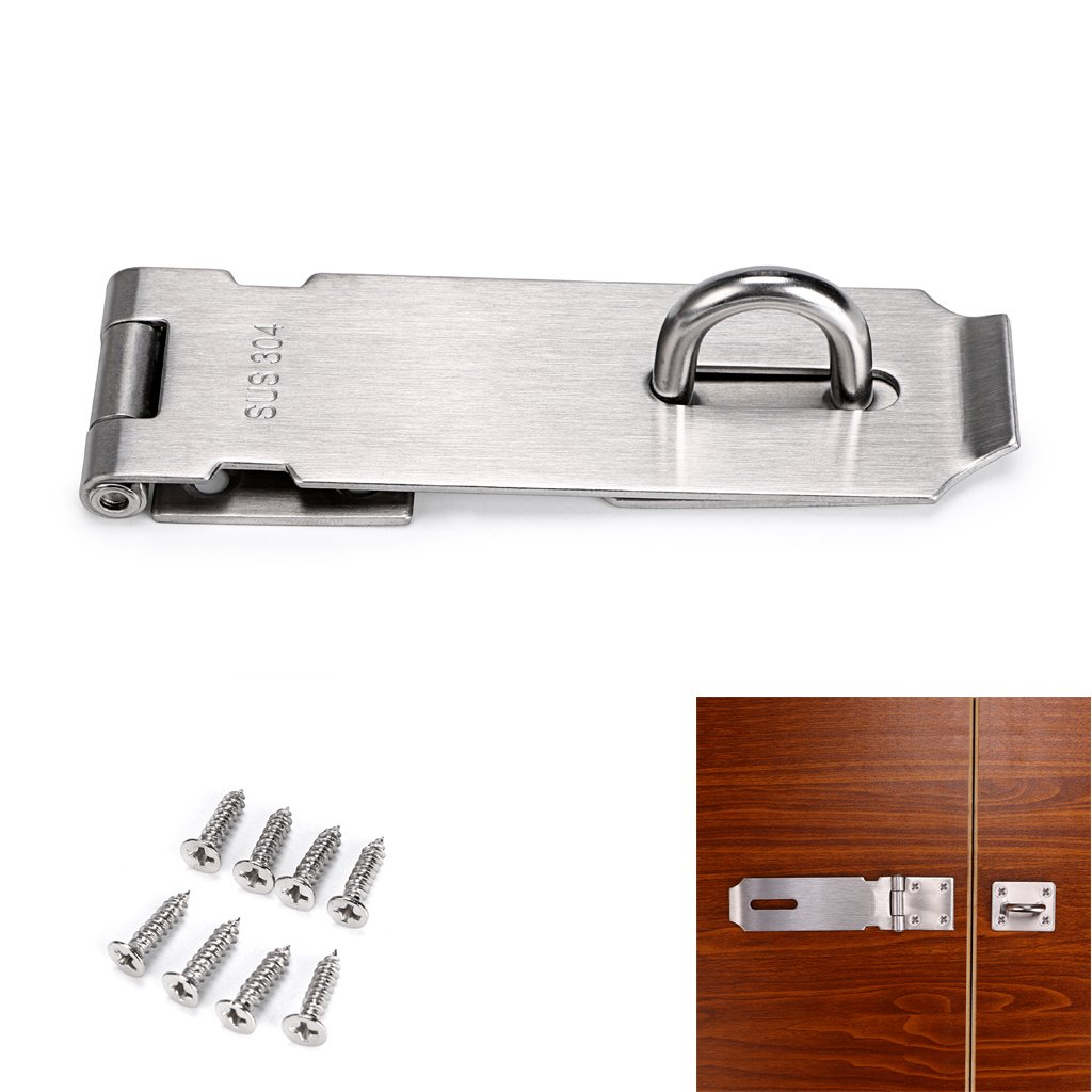 Sumnacon Safety Padlock Hasp Door Gate Clasp Lock, 5 Inch Stainless Steel Sturdy Gate Loop Latches With Screws For Furniture, Cabinet, Drawer, Cupboard and Closet Secure