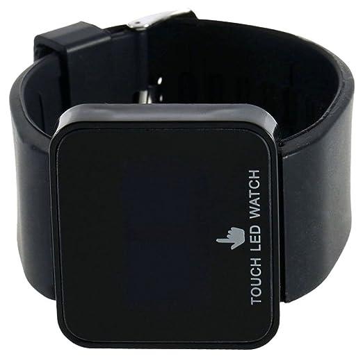 cocotina Unisex niños negro cuadrado Dial banda de silicona LED Digital pantalla táctil Casual reloj de pulsera para niñas Boy: Amazon.es: Relojes