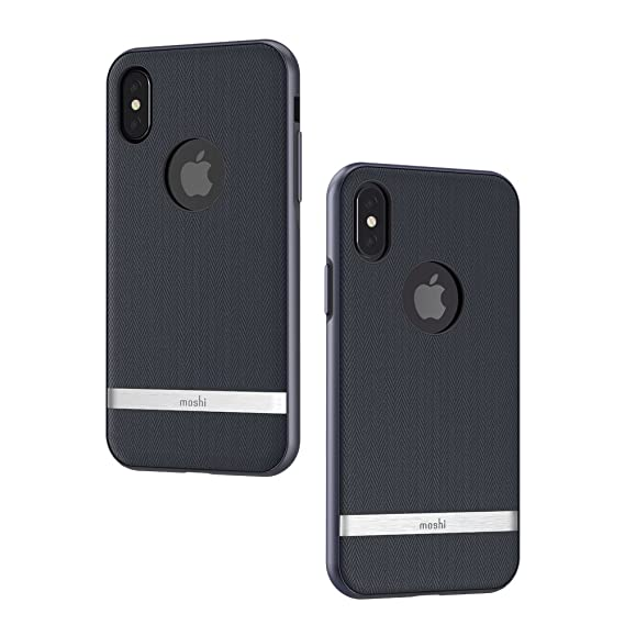 pretty nice 342e6 22af9 Moshi Vesta for iPhone Xs/iPhone X - Protective Fabric Case, Military-Grade  Drop Tested, Resists Dirt and Scratches,Wireless Charging (Bahama Blue)