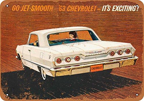 - Wall-Color 7 x 10 Metal Sign - 1963 Chevrolet Impala - Vintage Look