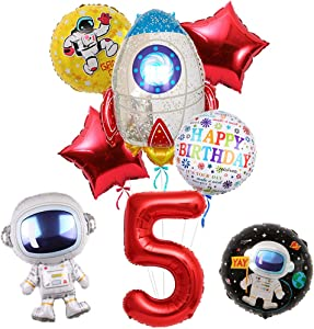 """8Pcs Large Astronaut Spaceman Balloons Party Supplies, 30"""" Rocket Balloon for Outer Space Theme 5th Birthday Party Decorations, Baby Shower, Home Office Decor, Birthday Backdrop"""