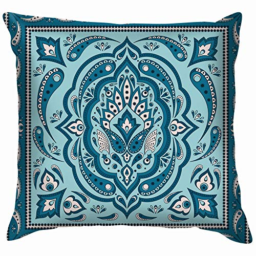 Floral Indian Paisley Border Vintage Throw Pillow Case Cushion Cover Pillowcase Watercolor for Couch 26X26 -