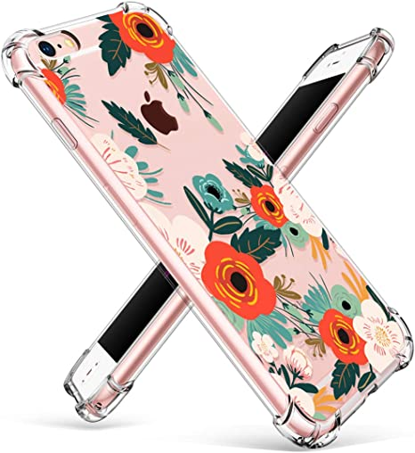 Exact-Fit Drop Protection TPU Crystal Clear Cover for iPhone 6S Plus 6 Plus,Transparent Soft Colorful Flexible Plastic Durable Rubber with Creative Shockproof Back Bumper