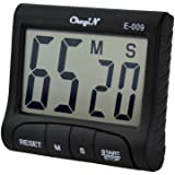 Kinfo Large LCD Display Digital Kitchen Alarm Count UP and Down Timer with Big Screen & Loud Beeping Sound(Black)