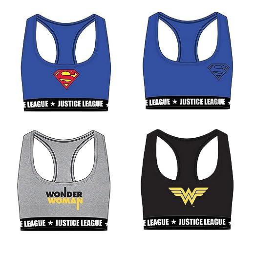 Justice League Sujetadores Deportivos de Algodón para Niñas Superman Wonder Woman: Amazon.es: Ropa y accesorios