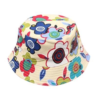 Kids Outdoor Bucket Hat,Kaicran(TM) Summer Unisex Baby Kids Boys Girls Floral Pattern Bucket Travel Caps Hats Sun Beach Hats for 2-6 Y (Beige): Clothing