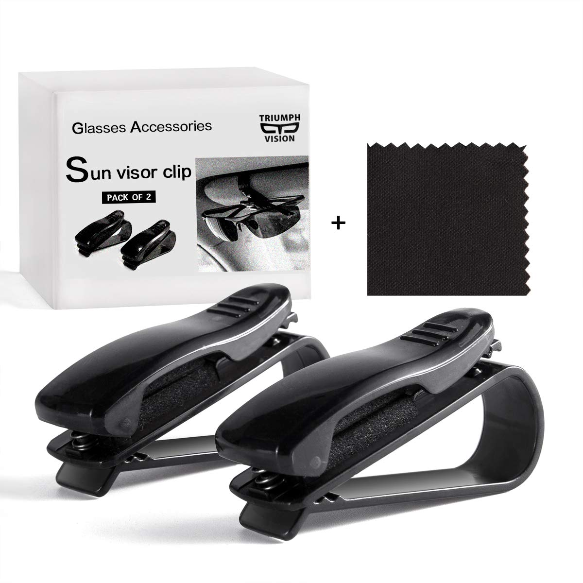 Glasses Clip for Car Visor - 2 Pack Auto Car Sunglasses Holder with Ticket Clip