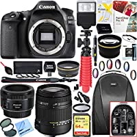 Canon 1263C004 EOS 80D 24.2 MP CMOS Digital SLR Camera (Body) + 18-250mm F3.5-6.3 DC OS HSM Macro + EF 50mm f/1.8 STM Prime Lens + 64GB Deluxe Bundle