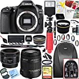 Canon EOS 80D 24.2 MP CMOS Digital SLR Camera (Body) + 18-250mm F3.5-6.3 DC OS HSM Macro + EF 50mm f/1.8 STM Prime Lens + 64GB Deluxe Bundle