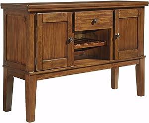 Ashley Furniture Signature Design - Ralene Dining Room Server - 2 Cabinets 1 Drawer and Wine Rack - Vintage Casual - Medium Brown