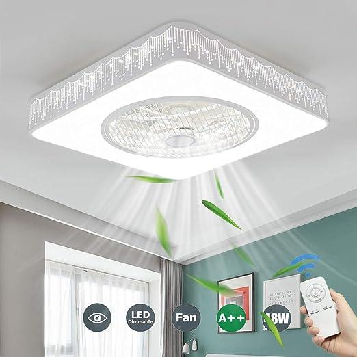 SFOXI Cuadrado LED Luz del Ventilador de Techo Lámpara de Techo ...