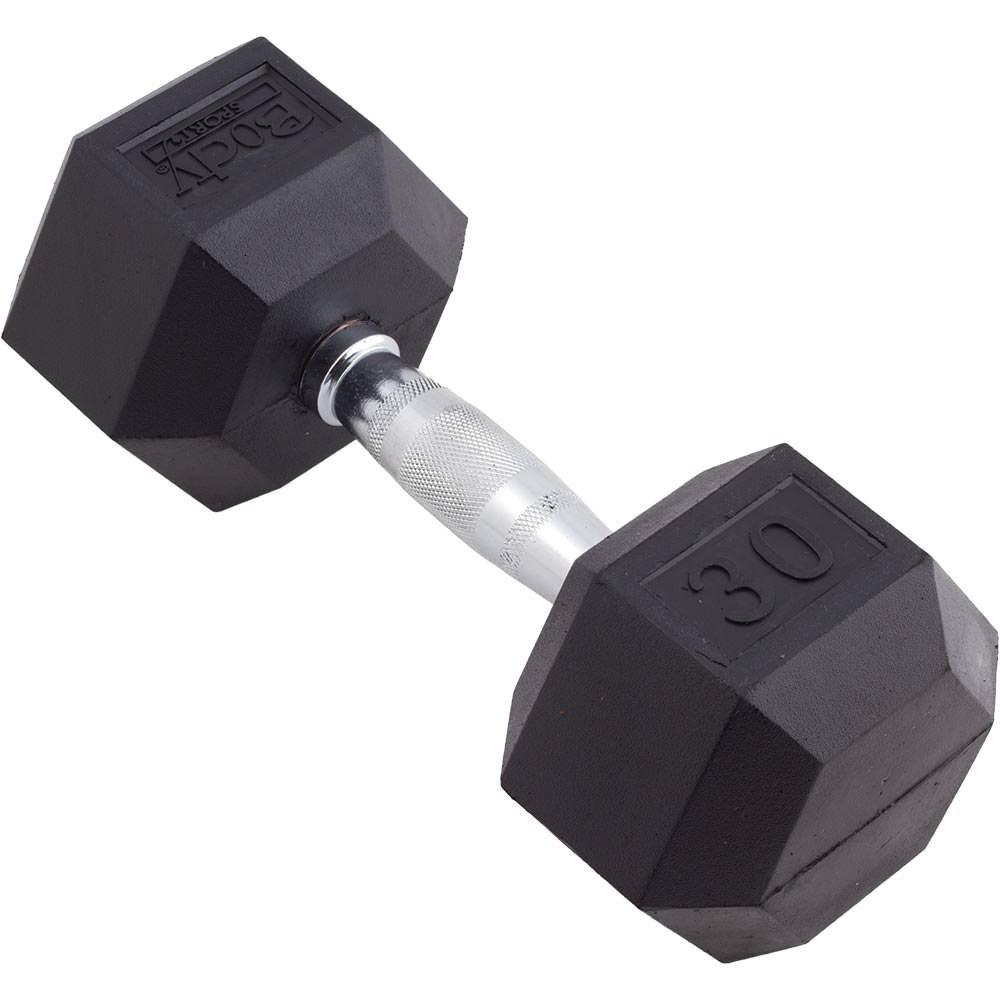 Body Sport Rubber Encased Hex Dumbbell, 30-Pound