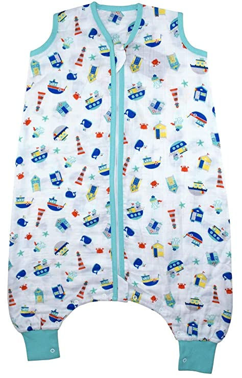 watch 5b5ba e43ef Slumbersac Muslin Sleeping Bag with Feet Approx. 0.5 Tog - Nautical- 6-12  Months/70cm